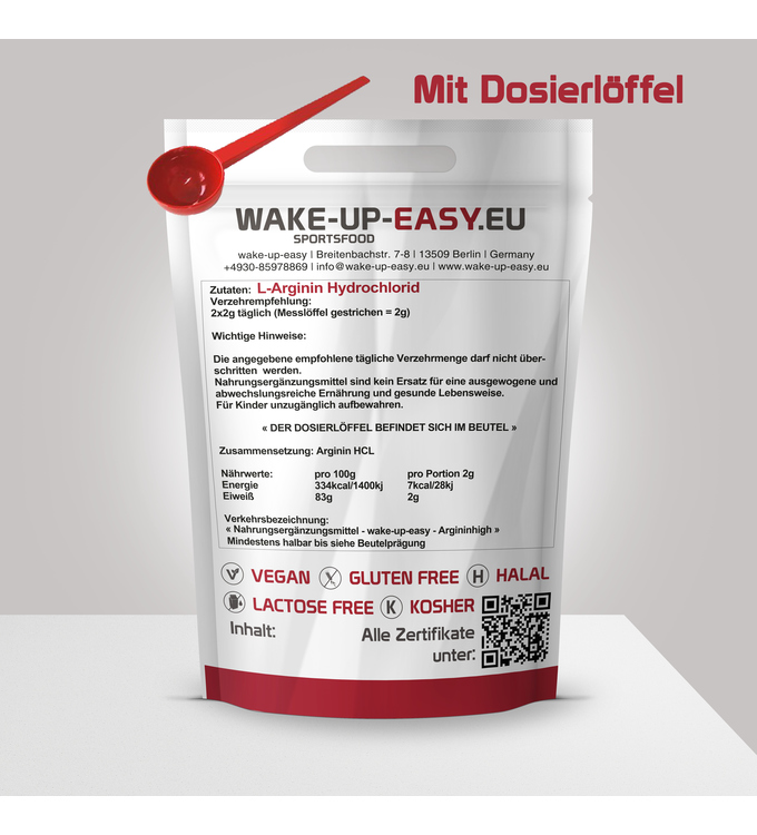 500g L-Arginin Powder, with measuring spoon included from Wake-Up-Easy